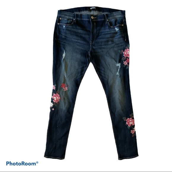 EXPRESS embroidered mid rise stretch skinny jeans